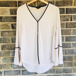 ST. JOHN bell sleeve top blouse size L
